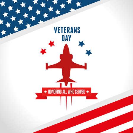 poster of jet in veterans day united states vector illustration design  イラスト・ベクター素材
