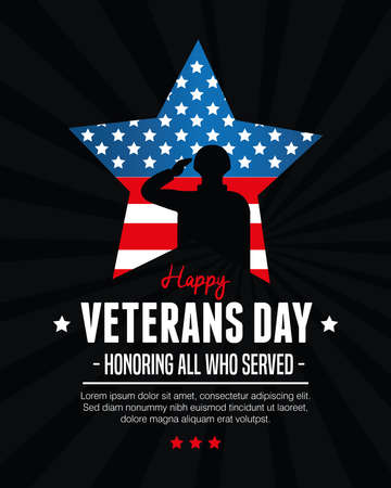 star and soldier of american veterans day vector illustration design  イラスト・ベクター素材