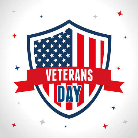 shield with flag of united states in day veterans vector illustration design  イラスト・ベクター素材