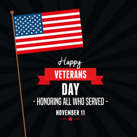 flag of united states in veterans day vector illustration design  イラスト・ベクター素材