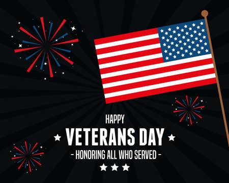 flag of united states in celebration day veterans vector illustration design