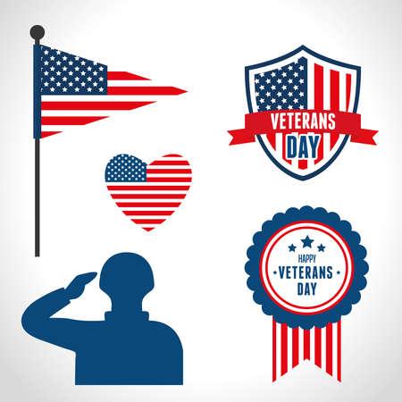 symbols of veterans war in united states vector illustration design