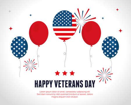 ballons of celebration in day veterans war vector illustration design