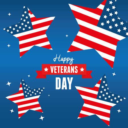 stars of day veterans war in united states vector illustration design  イラスト・ベクター素材