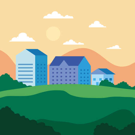 City landscape with houses shrubs clouds and sun design, architecture and urban theme Vector illustration