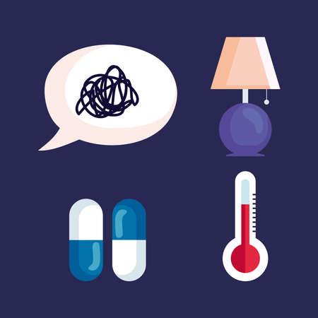 insomnia stress bubble lamp pills and thermometer design, sleep and night theme Vector illustration 版權商用圖片 - 156783522