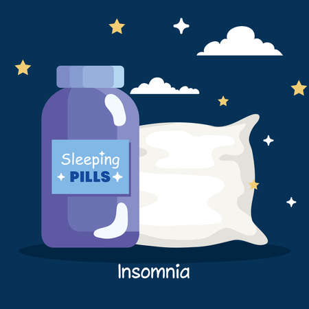 insomnia pills jar and pillow design, sleep and night theme Vector illustration