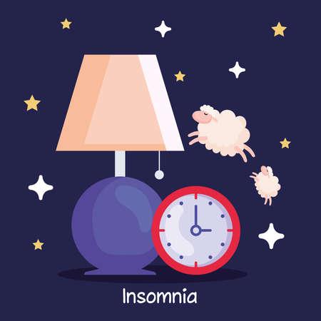 insomnia clock lamp and sheeps design, sleep and night theme Vector illustration 向量圖像