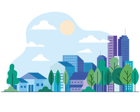 City buildings and houses with trees sun and clouds design, architecture and urban theme Vector illustration