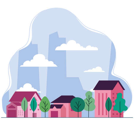 City landscape with houses trees and clouds design, architecture and urban theme Vector illustration
