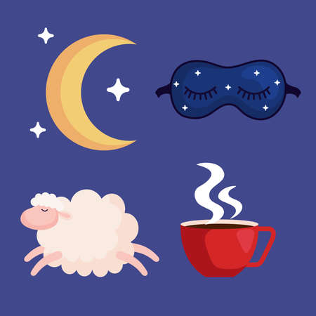 insomnia moon mask sheep and caffeine cup design, sleep and night theme Vector illustration