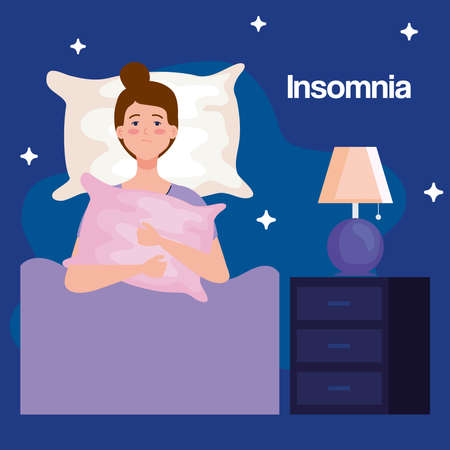 insomnia woman on bed with pillow and lamp design, sleep and night theme Vector illustration 向量圖像