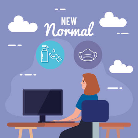 New normal of woman at desk design of covid 19 virus and prevention theme Vector illustration Illustration