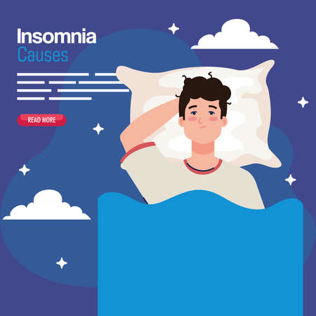 insomnia sauses man on bed with pillow and clouds design, sleep and night theme Vector illustration 版權商用圖片 - 156784308