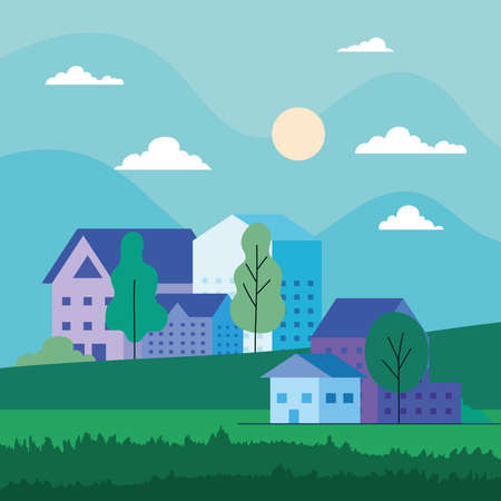 City landscape with houses trees clouds and sun design, architecture and urban theme Vector illustration