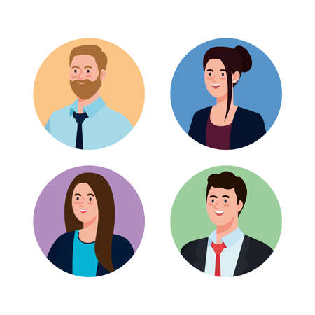 Businesspeople in circles design, Man woman business management corporate job occupation and worker theme Vector illustration Vektorové ilustrace