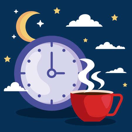insomnia clock and caffeine cup design, sleep and night theme Vector illustration