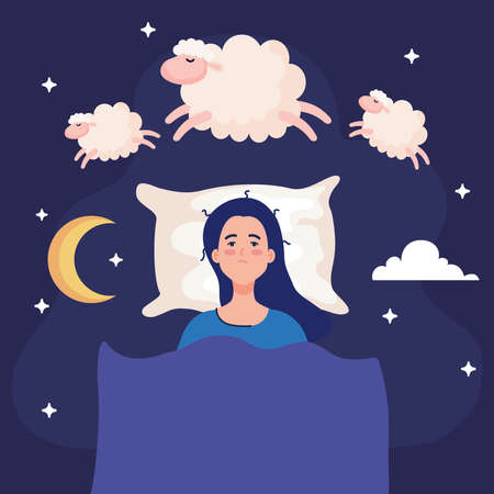 insomnia woman on bed with sheeps design, sleep and night theme Vector illustration