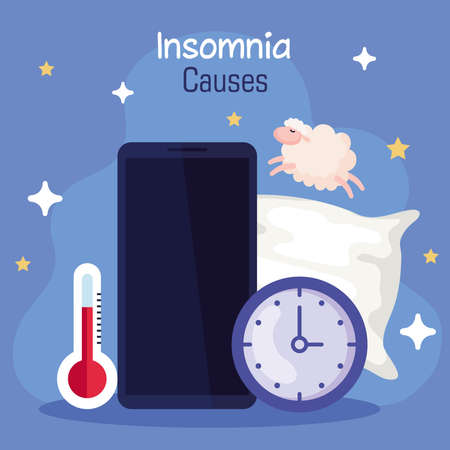 insomnia causes smartphone thermometer and clock design, sleep and night theme Vector illustration