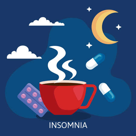 insomnia caffeine cup and pills design, sleep and night theme Vector illustration
