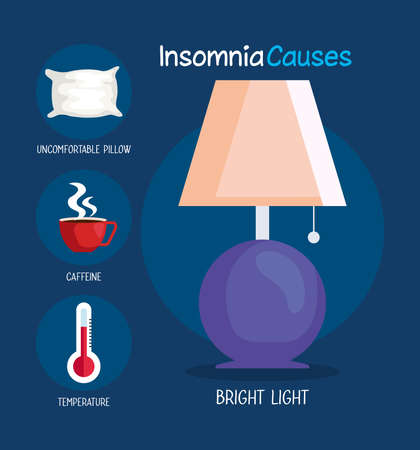 insomnia causes bright light lamp and icon set design, sleep and night theme Vector illustration