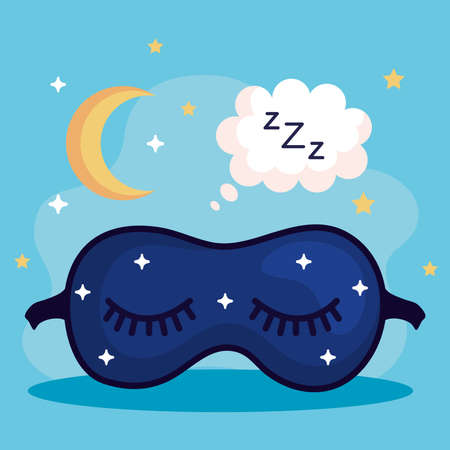 insomnia mask bubble and moon design, sleep and night theme Vector illustration
