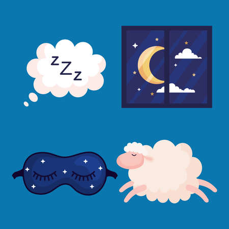 insomnia bubble window mask and sheep design, sleep and night theme Vector illustration
