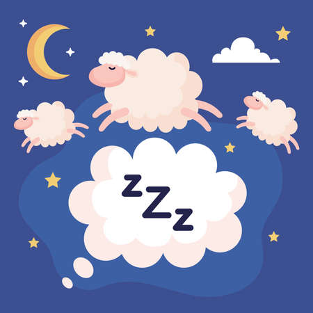 insomnia bubble with sheeps design, sleep and night theme Vector illustration