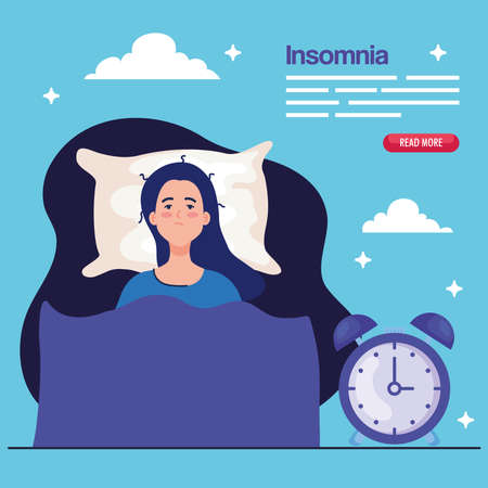 insomnia woman on bed with clock design, sleep and night theme Vector illustration 向量圖像
