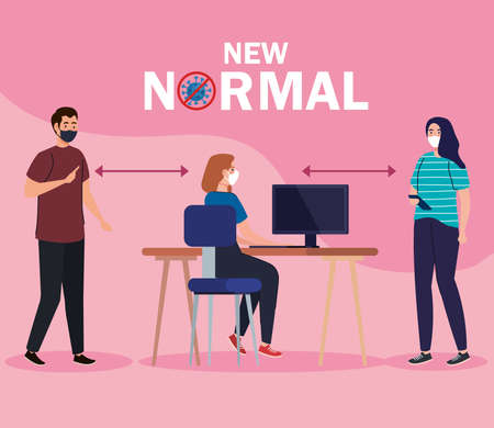 New normal of social distancing between man and women with mask at desk design of covid 19 virus and prevention theme Vector illustration Illustration
