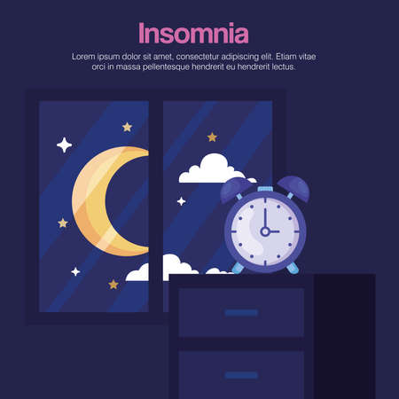 insomnia clock on furniture and moon at window design, sleep and night theme Vector illustration