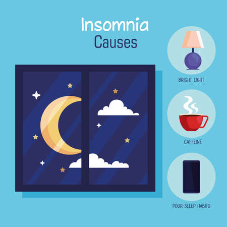 insomnia casues moon at window and icon set design, sleep and night theme Vector illustration