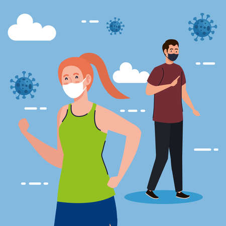 New normal of woman running and man with masks design of covid 19 virus and prevention theme Vector illustration