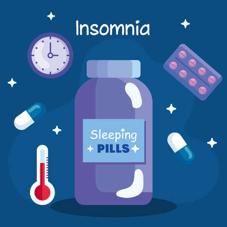 insomnia pills jar clock and thermometer design, sleep and night theme Vector illustration