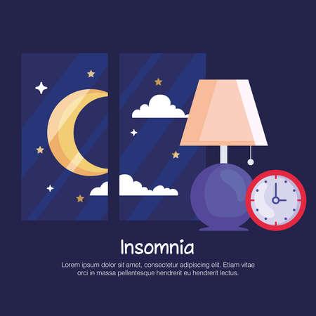 insomnia lamp clock and moon at window design, sleep and night theme Vector illustration 向量圖像