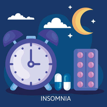 insomnia clock with pills moon and clouds design, sleep and night theme Vector illustration 向量圖像