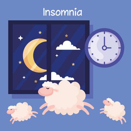 insomnia sheeps clock and moon at window design, sleep and night theme Vector illustration