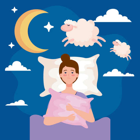 insomnia woman on bed with pillow and sheeps design, sleep and night theme Vector illustration