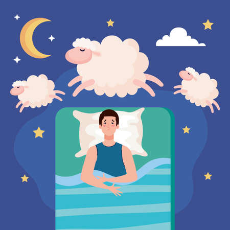 insomnia man on bed with pillow and sheeps design, sleep and night theme Vector illustration