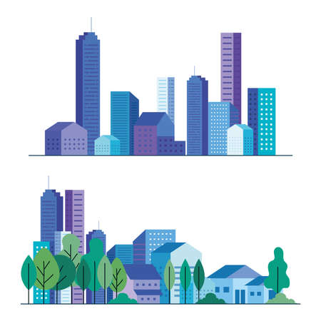 city buildings and houses with trees set design, architecture and urban theme Vector illustration