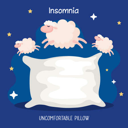 insomnia uncomfortable pillow with sheeps design, sleep and night theme Vector illustration 向量圖像