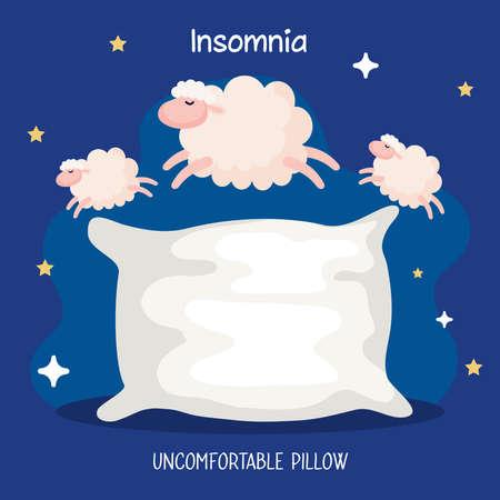 insomnia uncomfortable pillow with sheeps design, sleep and night theme Vector illustration 版權商用圖片 - 156784732
