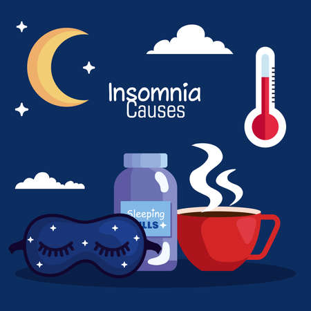 insomnia causes mask pills jar and caffeine cup design, sleep and night theme Vector illustration