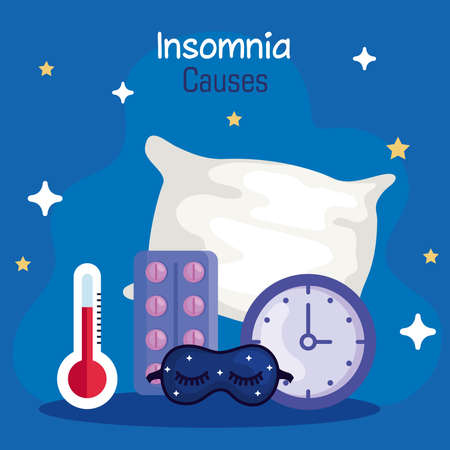 insomnia causes thermometer mask clock pills and pillow design, sleep and night theme Vector illustration 版權商用圖片 - 156788395