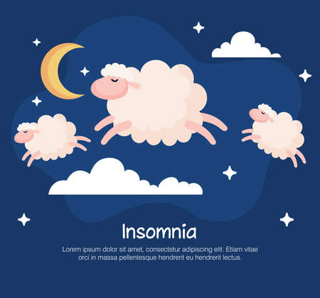 insomnia sheeps and clouds design, sleep and night theme Vector illustration 向量圖像