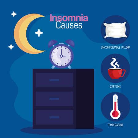 insomnia causes clock on furniture and moon design, sleep and night theme Vector illustration 向量圖像