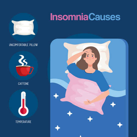 insomnia causes woman on bed with pillow and icon set design, sleep and night theme Vector illustration