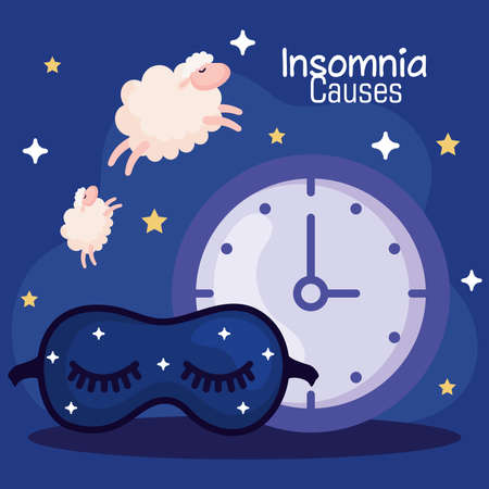 insomnia causes clock mask and sheeps design, sleep and night theme Vector illustration Иллюстрация
