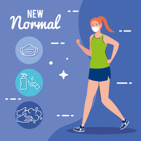 New normal of woman with mask running and icon set design of covid 19 virus and prevention theme Vector illustration