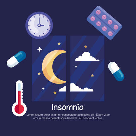 insomnia moon at window and icon set design, sleep and night theme Vector illustration